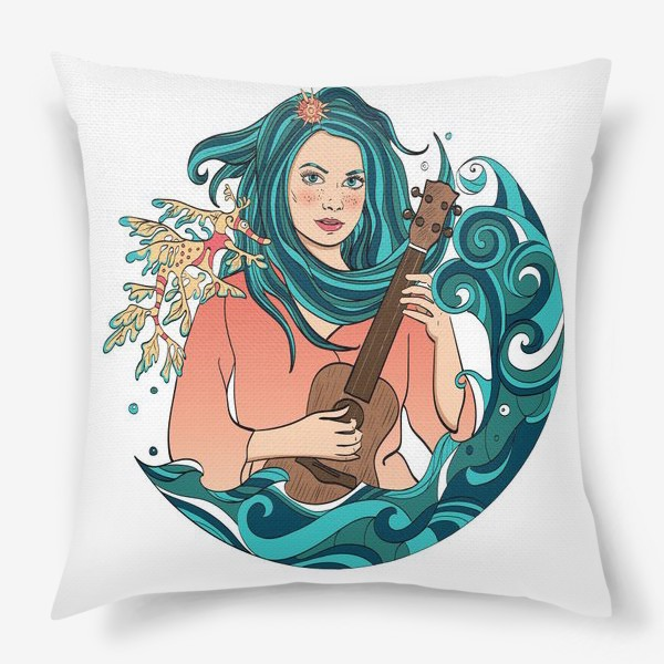 Подушка «Русалка играет на укулеле»