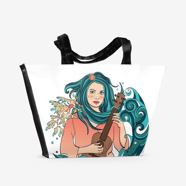 Пляжная сумка «Русалка играет на укулеле»
