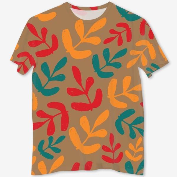 Футболка с полной запечаткой «Разноцветные листья осени»