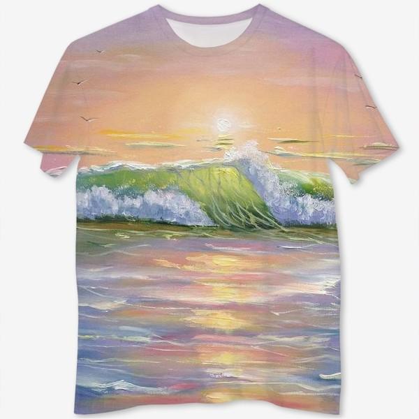 Футболка с полной запечаткой «Восход над морем»