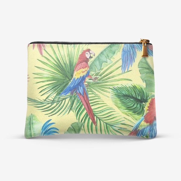 Косметичка «Тропические листья и попугаи»