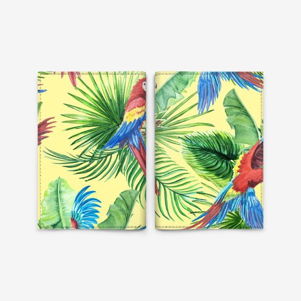 Обложка для паспорта «Тропические листья и попугаи»