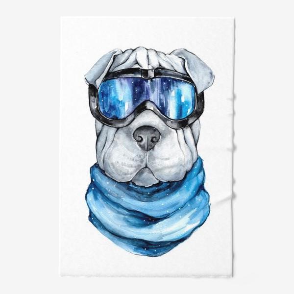Полотенце «Шарпей лыжник»