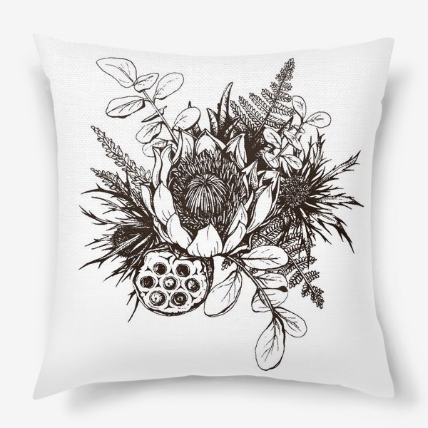 Подушка «Букет, графика»