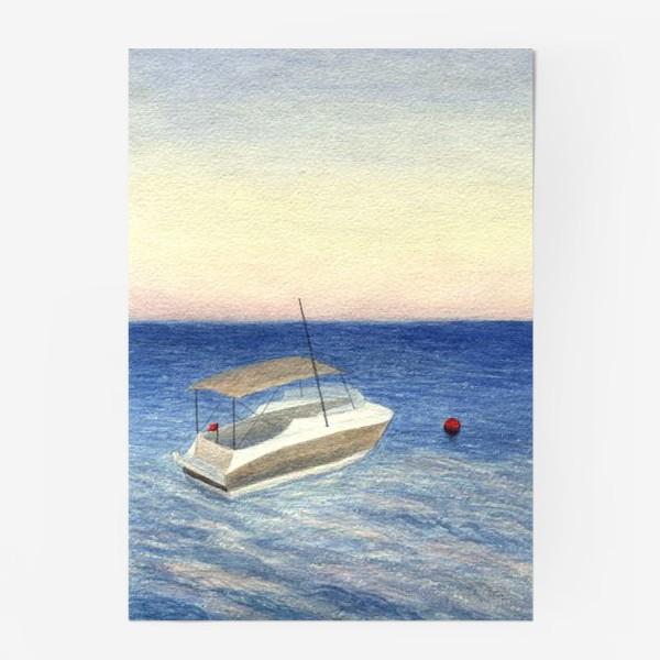 Постер «Кораблик в море. Акварель. Реализм.»