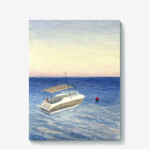 Холст «Кораблик в море. Акварель. Реализм.»