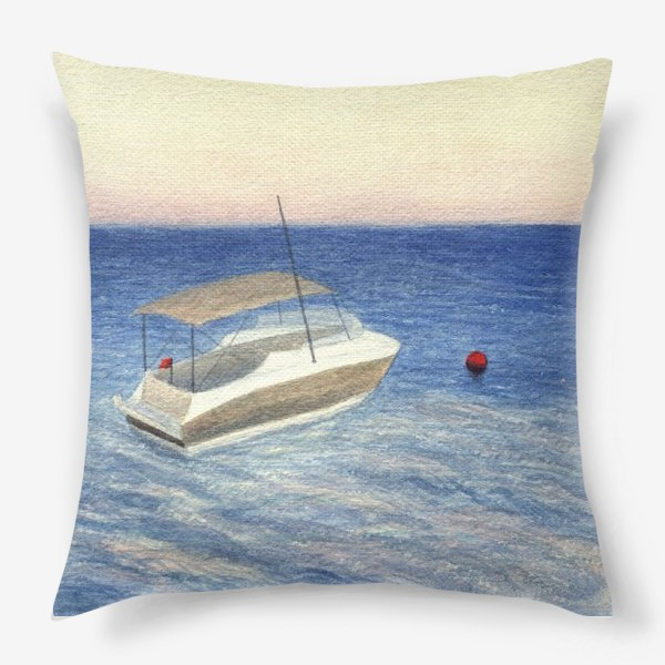 Подушка «Кораблик в море. Акварель. Реализм.»