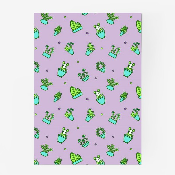 Постер «Цветы и мышки (квадрат)»