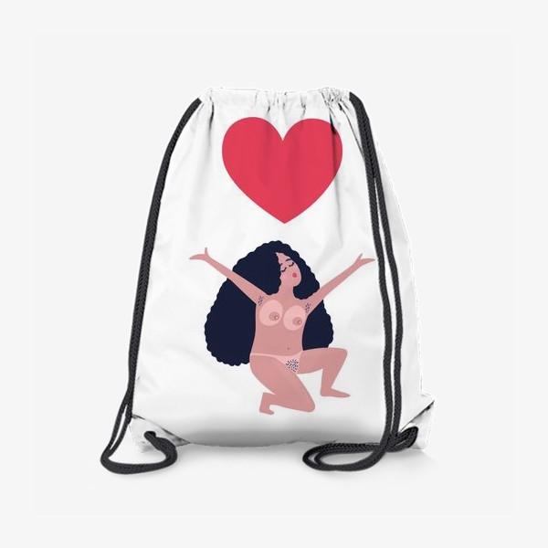 Рюкзак «Девушка и сердце. Любовь к миру»