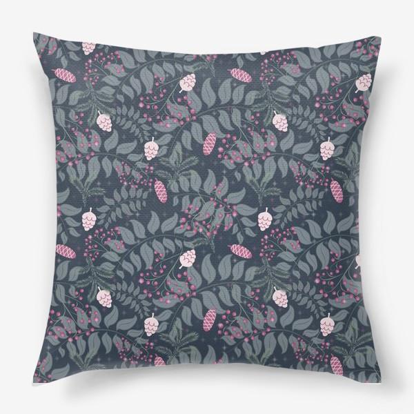 Подушка «Зимняя флора, паттерн»