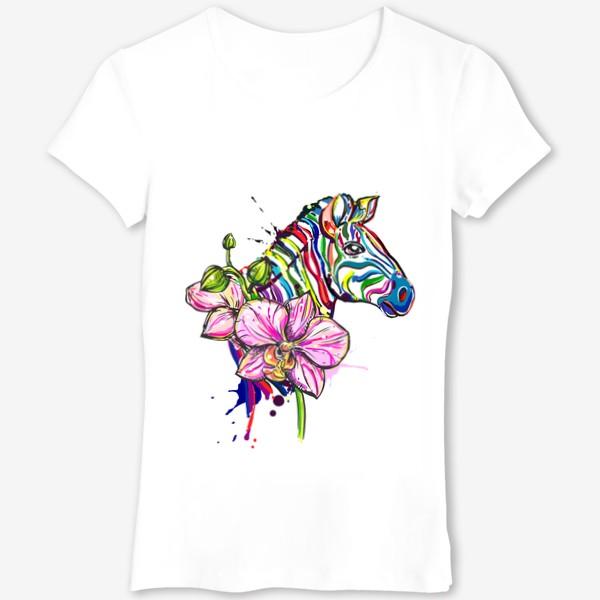 Футболка «Разноцветная зебра и орхидея»