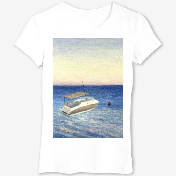 Футболка «Кораблик в море. Акварель. Реализм.»