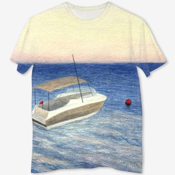 Футболка с полной запечаткой «Кораблик в море. Акварель. Реализм.»