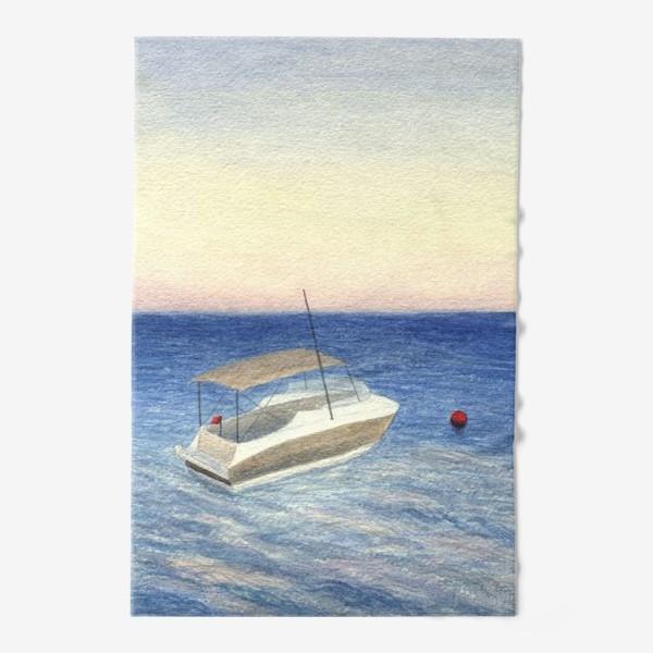Полотенце «Кораблик в море. Акварель. Реализм.»