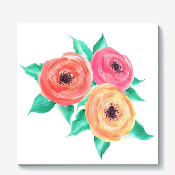 Холст «Серия цветы, пионы, розы (акрил)»