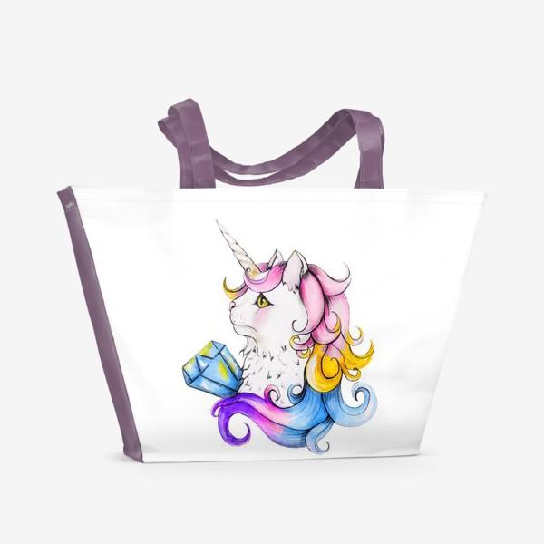 Пляжная сумка «Кот единорог»