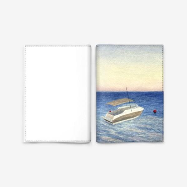 Обложка для паспорта «Кораблик в море. Акварель. Реализм.»