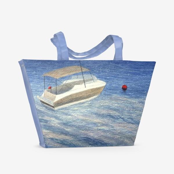 Пляжная сумка «Кораблик в море. Акварель. Реализм.»