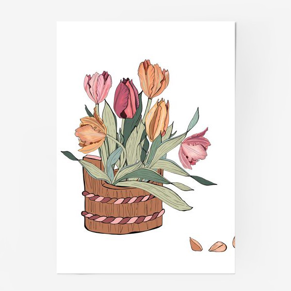 Постер «корзина с тюльпанпами»
