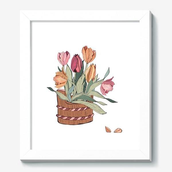 Картина «корзина с тюльпанпами»