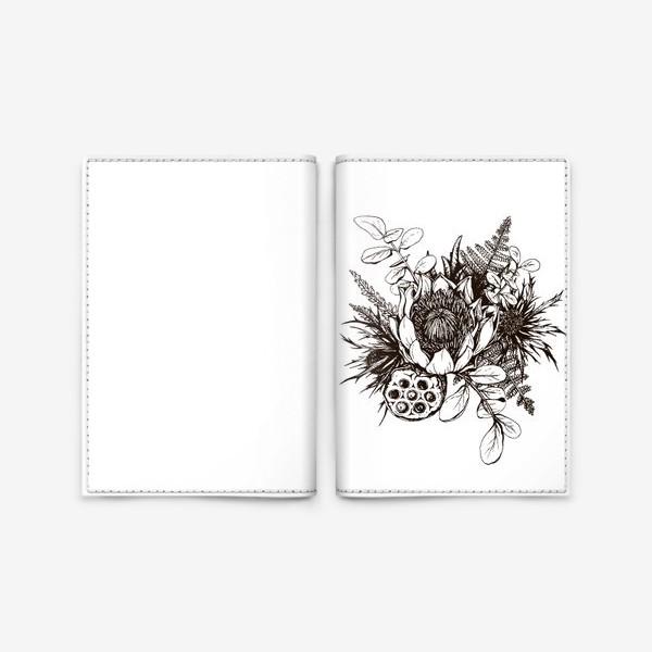 Обложка для паспорта «Букет, графика»