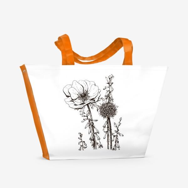 Пляжная сумка «Цветы, летнее настроение»