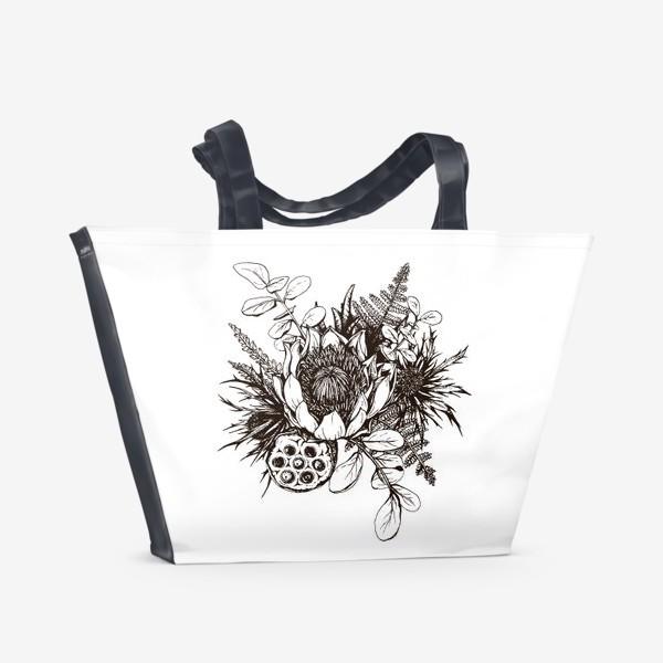 Пляжная сумка «Букет, графика»