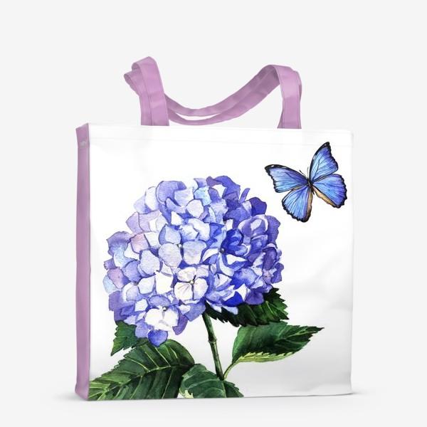 Сумка-шоппер «Голубая гортензия и бабочка»