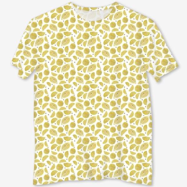 Футболка с полной запечаткой «Сочные лимоны паттерн»