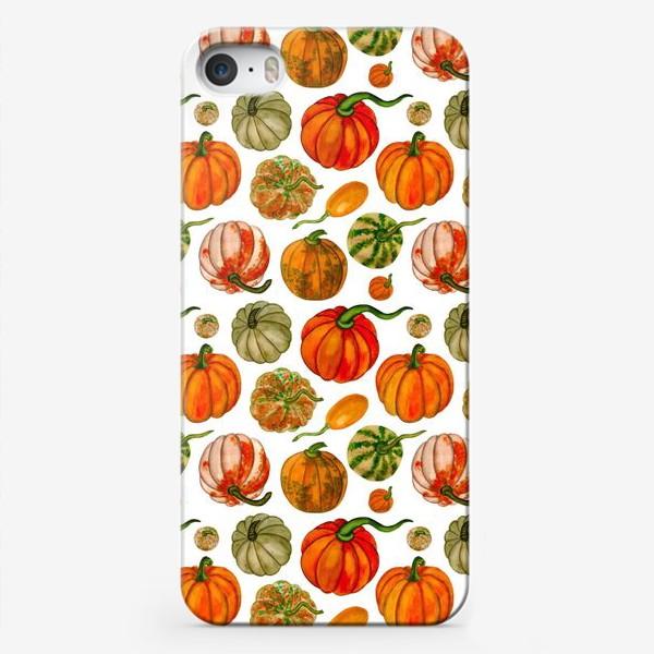 Чехол iPhone «Паттерн осенние тыквы»
