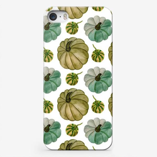Чехол iPhone «Паттерн зелёные тыковки»