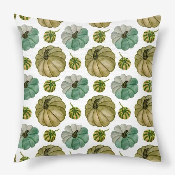 Подушка «Паттерн зелёные тыковки»