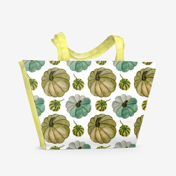Пляжная сумка «Паттерн зелёные тыковки»