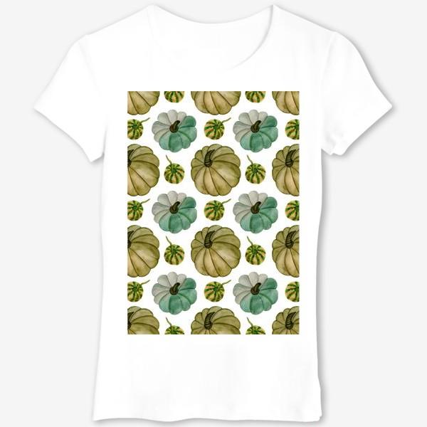 Футболка «Паттерн зелёные тыковки»