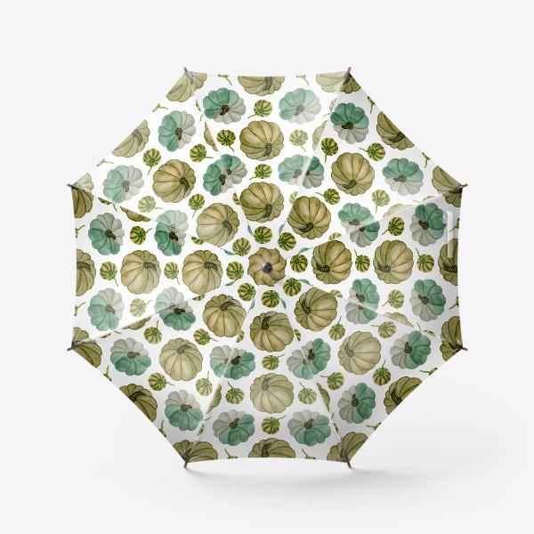 Зонт «Паттерн зелёные тыковки»