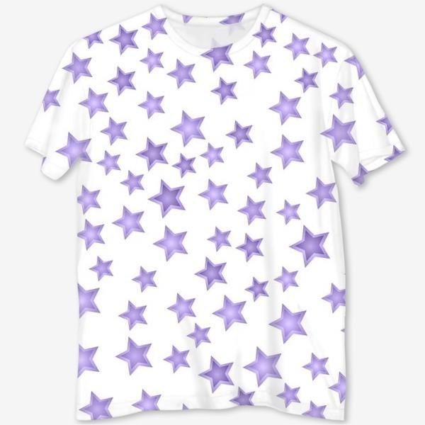 Футболка с полной запечаткой «Фиолетовые звезды»