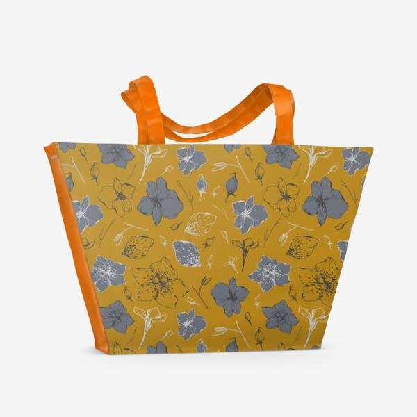 Пляжная сумка «Паттерн, цветы, графика»