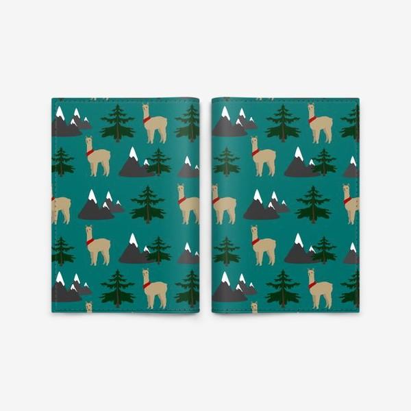 Обложка для паспорта «Альпака, лама, паттерн»