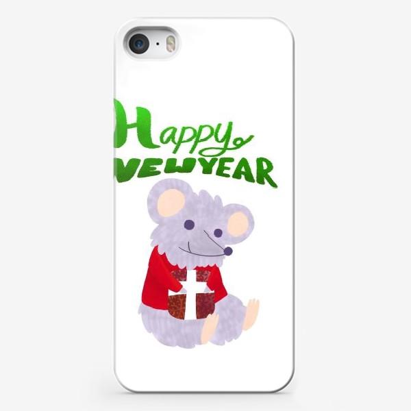 Чехол iPhone «С новым годом! Мышонок с подарком»