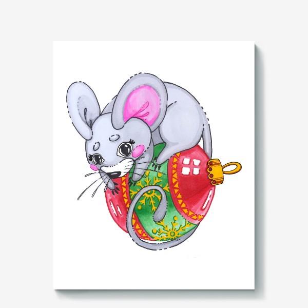 Холст «Мышка на елочной игрушке»