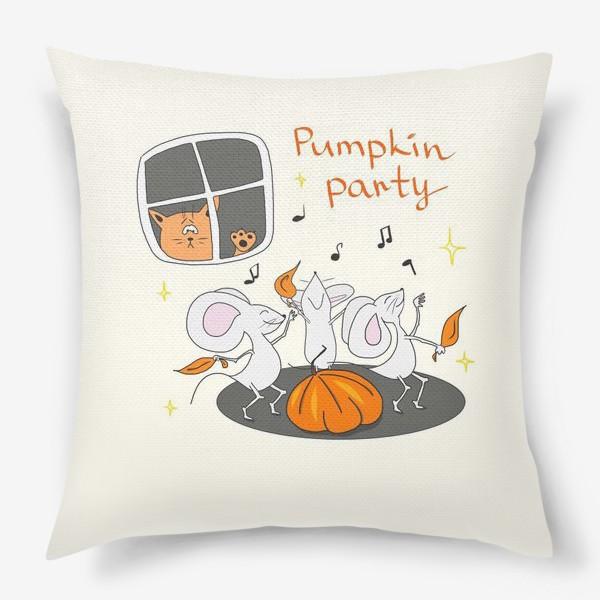Подушка «Мыши. Тыква. Подарок на Хэллоуин»