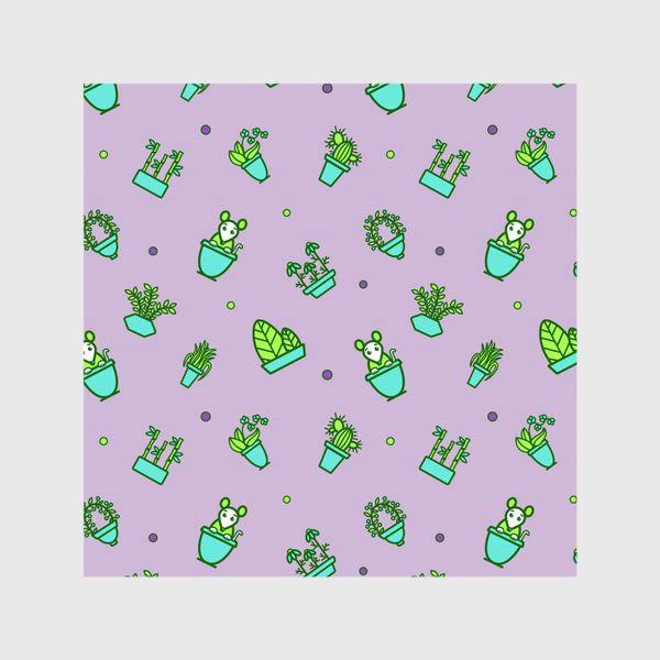 Шторы «Цветы и мышки (квадрат)»