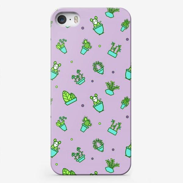 Чехол iPhone «Цветы и мышки (квадрат)»