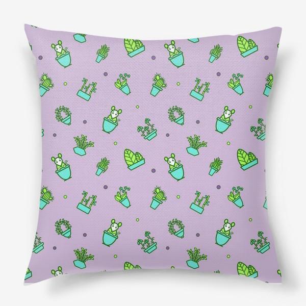 Подушка «Цветы и мышки (квадрат)»