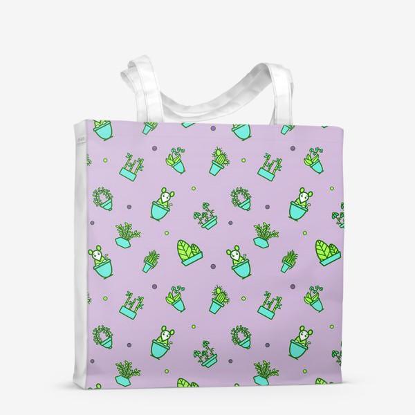 Сумка-шоппер «Цветы и мышки (квадрат)»