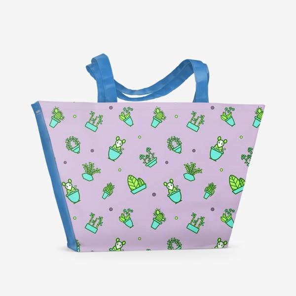 Пляжная сумка «Цветы и мышки (квадрат)»