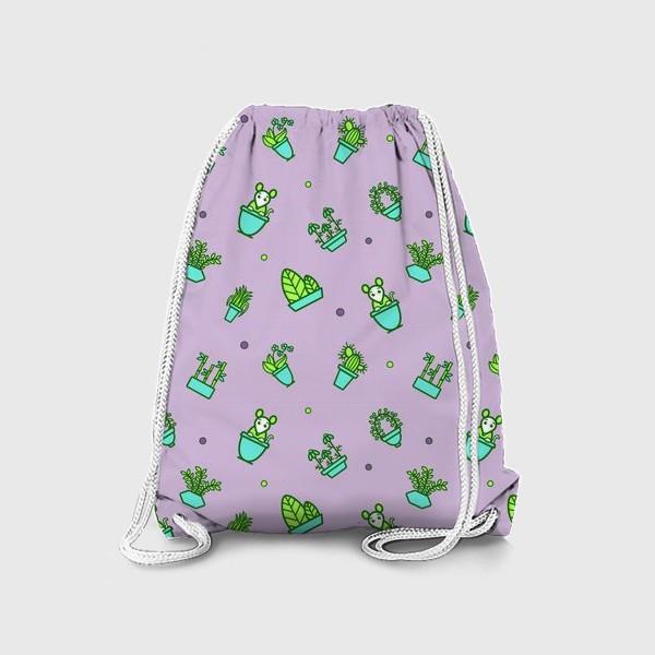 Рюкзак «Цветы и мышки (квадрат)»