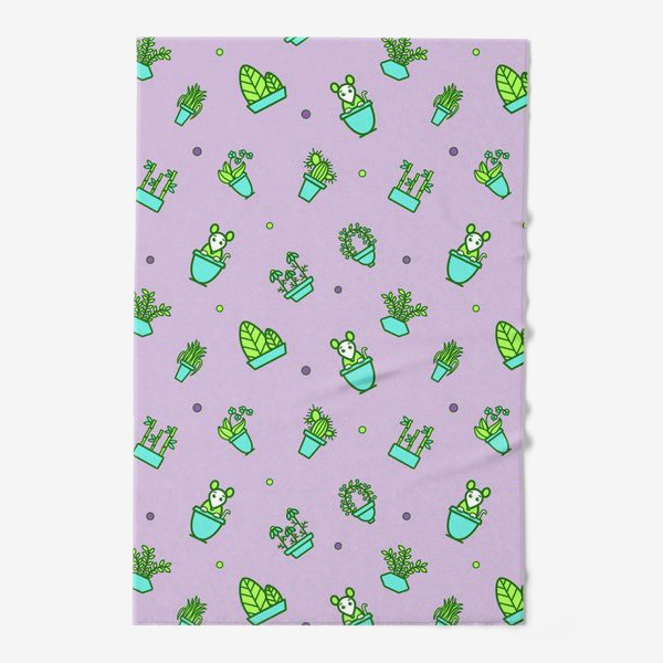 Полотенце «Цветы и мышки (квадрат)»