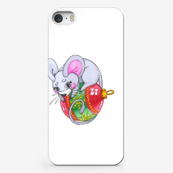 Чехол iPhone «Мышка на елочной игрушке»