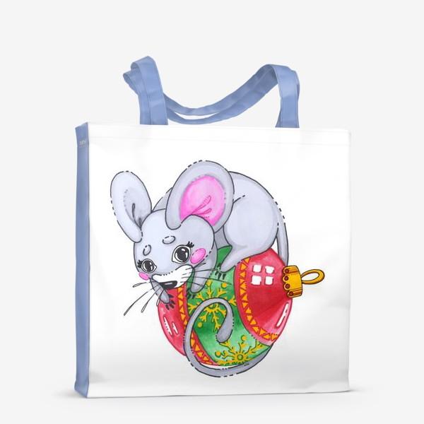 Сумка-шоппер «Мышка на елочной игрушке»
